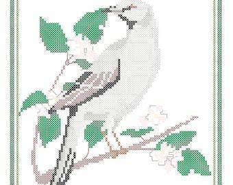 Arkansas State Bird, Flower and Motto Cross Stitch Pattern PDF