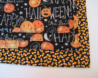Jack O Lantern Candy Corn Placemats Reversible set of 4 or 6 Pumpkin Placemats Halloween Placemats  Happy Halloween table decor