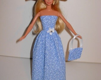 Handmade Barbie clothes - Beautiful floral gown with hat and bag 4 barbie doll