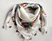 Soft Printed Scarf, Tatting Lace Trim, White Turban Scarf, Turquoise Orange Floral Authentic Scarf, Cheesecloth Muslin, Boho Yazma Bandana