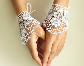 Bridal Wrist Cuffs, Silver Fingerless Gloves, White Guipure Lace, Lace Evening Gloves, Shiny Modern Rustic Wedding Handmade