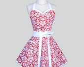 Sweetheart Retro Womans Apron , Sexy Elegant Kitchen Cooking Apron in Vintage Red and White Damask Handmade Full Flirty Womens Apron