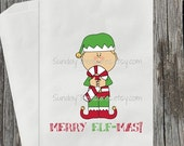 Fall Sale 12 Pak Elf Favor Bags / Homemade Cookie Candy Bag / Merry Elfmas / Christmas Candy Buffet Gift Bag Gift Wrap / READY TO SHIP