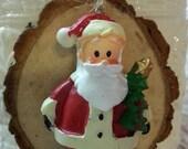 Santa Tree Slice Christmas Ornament / Wood Tree Slice / Package Wrap Tag / Woodland Rustic Christmas Decoration  / Ready to Ship (ref-ts)
