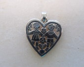 Vintage James Avery Sterling Silver Heart Couple Pendant Charm