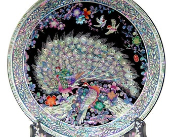 Mother of Pearl Inlay Art Decorative Peacock Pair Shell Home Wall Deco Accent Housewarming Gift Round Circle Wood Stand Plate Platter Dish