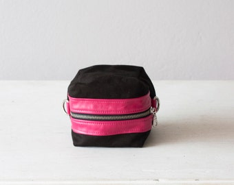 Cosmetic bag, makeup case in black canvas and pink leather, accessory bag, utility bag,  zipper pouch  - Cube