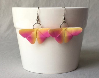 Pink & Yellow Butterfly Earrings - Butterfly Jewelry - Birthday Gift - Origami Butterfly Earrings - Mother's Day Gift - Stocking Stuffers