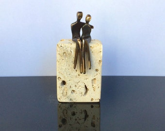 "MINI BRONZE COUPLE >> Romantic pair of bronze lovers.  A delightful gift that says ""I love you"".  Made in Santa Fe by  artist  Yenny Cocq"