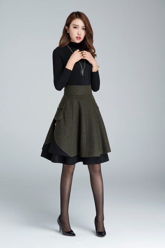 short skirt, wool skirt, winter skirt, layered skirt, plus ...