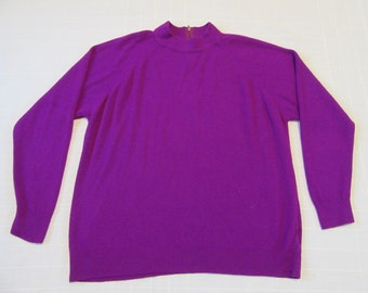 VINTAGE Designers Originals Sweater Size 42 XL Violet Back Quarter Zip Acrylic