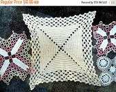 VALENTINES SALE Vintage Crochet Doilies,lot of 4,Square Ribbed Design,2 Chevron Crochet, Tatted border, Small Filet Crochet,Table Home Decor