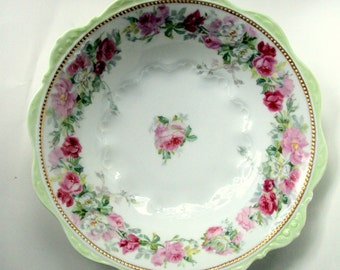 Antique OHME Silesia Porcelain Serving Bowl,1880s,Porcelain Paste,Pink Roses,Green Scalloped Rim,Beaded Gold Band,Intricate Porcelain Scroll