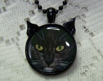 Long Haired Black Cat Pendant - Cat art pendant - Halloween Cat - Cat Art Jewelry - Wearable Cat Art - Cat Lover - Kitty, Cat Face, Cat Head