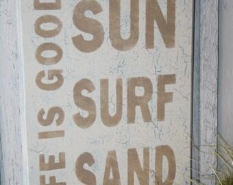 LIFE IS GOOD Sign, Sun Surf Sand, Beach Sign, Life is Good Decor, Funny Beach Sign, Beach Decor, Tropical Sign, Nautical Sign, Coastal Decor