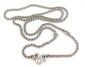 Vintage Chain Necklace, Antiqued Silvertone Necklace, 24in Long Vintage Chain, Round Double Links Beautiful Design