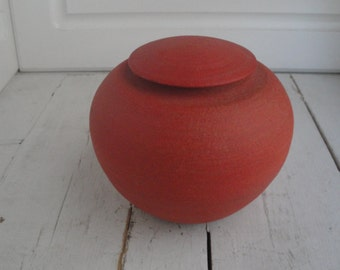 Vintage Urn Lidded Orange Art Pottery