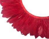 Feather Trim, 1 Yard - RED Goose Nagoire and Satinettes Feather Trim : 3206