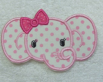 Girlie Elephant Fabric Embroidered Iron On Applique Patch Ready to Ship
