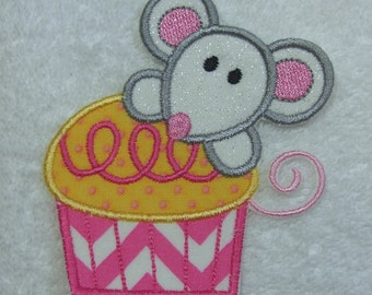 Mouse Cupcake Iron on Applique Fabric Embroidered Iron On Applique Patch Ready to Ship