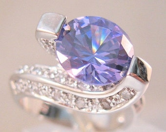 15% OFF SALE Designer Signed RP 2.75ct Tanzanite & .81ct Cz Ring Sterling Silver Size 5