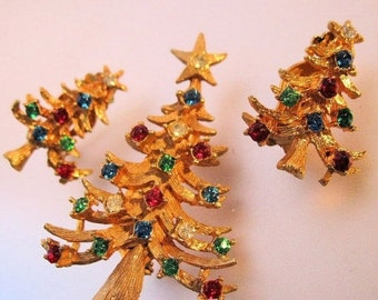 15% OFF SALE LJM Christmas Tree Rhinestone Brooch & Earrings Set Vintage Costume Jewellery Jewelry