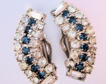 1950s Blue & Clear Clip On Earrings Silver Tone Vintage Jewelry Jewellery