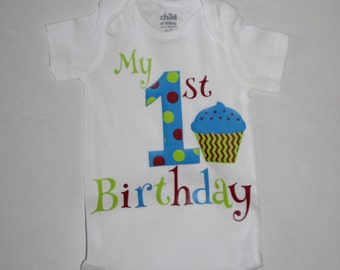 boys cake smash outfit, blue, red, green with number and cupcake, boys 1st birthday outfit, boys 1st birthday bodysuit smash cake outfit