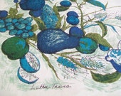 Luther Travis Tablecloth, Linen, blue, white, turquoise, fruit, leaves