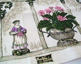 SALE - KayDee Handprints linen kitchen towel, UNUSED