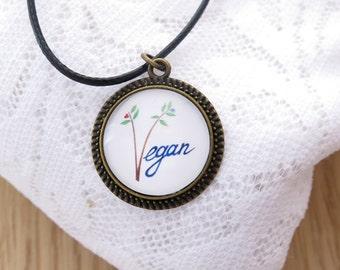 Go vegan necklace, Vegan Jewelry, Vegeterian necklace, Cruelty Free, Go vegan, Handmade Jewelry, Animals Liberation