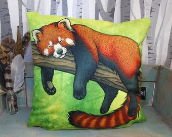 Red Panda Illustration Vegan Cushion Cover - Faux Suede 45 x 45cm