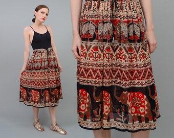 SALE 90s Gauze Skirt, Indian Gauze Skirt, ELEPHANT Ethnic Skirt, 70s Bohemian Skirt, Full Gypsy Skirt, 90s Midi Skirt Small Medium S M
