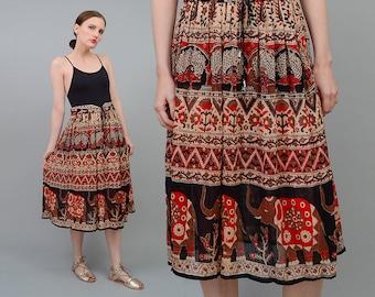 Vintage 90s Indian Gauze ELEPHANT Bohemian Hippie Drawstring Waist Midi Skirt Small Medium S M