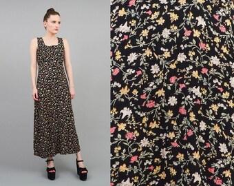 Vintage 90s Maxi Dress Black Ditsy Floral Sundress Sleeveless Empire Waist Boho Minimal Grunge Maxi Dress Small S