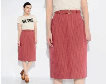 Vintage 60s Red Striped Skirt Preppy Cotton Skirt Belted High Waist Retro Pencil Skirt Medium M 28