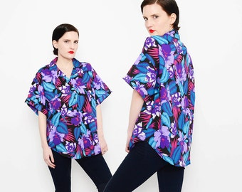 80s Hawaiian Shirt Tropical Floral Print Short Sleeve 1980s Button Up Blouse Purple Blue Small Medium S M
