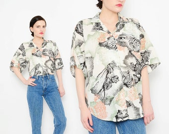 80s Leopard + Tiger Safari Shirt Collared Short Sleeve 1980s Boho Button Up Cheetah Animal Print Top Small Medium S M