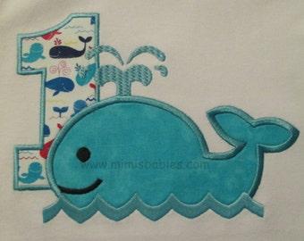 Happy Little Whale Birthday Shirt  Boys Whale Birthday Shirt