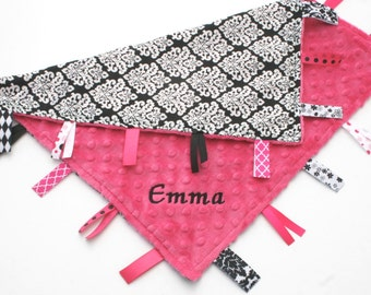Personalized Tag Blanket - Hot Pink Minky with Black and White Damask Satin - Girl Lovey