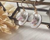 Tea Time Earrings - Sweet Dollhouse Decor Handmade Jewelry - Miniature Mini Tiny Small Bitty - Tea Cup and Saucer