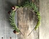 Woodland crown, winter wedding crown, acorn wreath, pine branch crown, holiday head piece, leaf crown, winter hair accessories