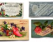 4 Victorian Reward of Merit Cards Antique