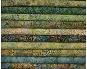HOP Batavian Jungle Greens Wilmington Prints. 12 Fat Quarter Bundle Pre-Cuts!  Fat Quarter Batik Sampler--100% Cotton
