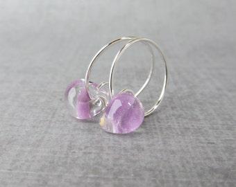 Lavender Small Hoops, Silver Hoop Earrings Lavender, Light Purple Earrings Hoops, Small Silver Wire Hoops, Sterling Silver Earrings Purple