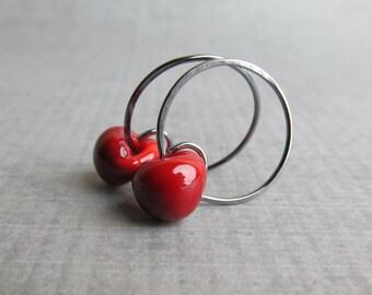 Blood Red Hoop Earrings, Dark Red Earrings, Small Earrings, Red Glass Earrings, Small Hoops, Red Lampwork Earrings, Oxidized Silver Earrings