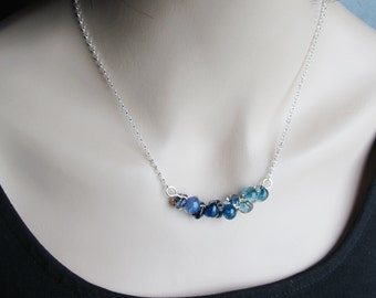 Ombre Blue Necklace, Navy Blue Lampwork Necklace, Glass Drop Necklace, Aquamarine Blue, Cyan Sparkle Necklace, Sterling Silver Necklace Blue