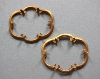 Vintage Oxidized Brass 6 Prong Settings