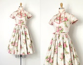 vintage 1950s dress / flocked velvet rose floral 50s dress / Miss Mandarin Rose