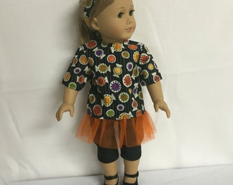 American Doll Girls Clothes or Most Other 18 Inch Dolls, Halloween Candy Party Outfit Four Pieces Included